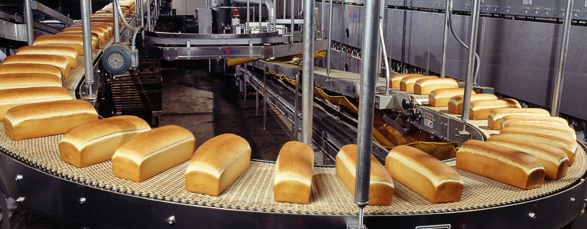 Baking bread at commercial bakery in Batesville, Arkansas, USA